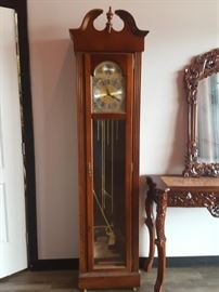 Cherry grandfather Clock -  Also shown Hall table and Mirror