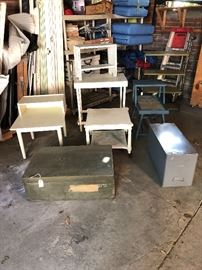 Old army chest, side tables, small bench, file cabinet, work table