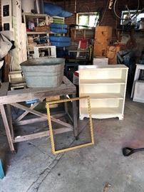 Shelves, metal sink, work table on casters, frame