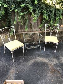Vintage patio chairs, outdoor side table