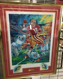 Joe Montana - San Francisco -  Lithograph signed by Joe and artist with remarks