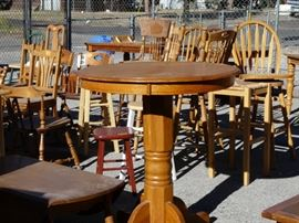 We have quite a few dining tables of all sizes and heights, as well as oh so many chairs.