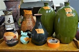 "Nice collection of vases large including one small signed ""Little Dine"" Navajo ""Horses"" vase and one small AVON green glass pitcher."