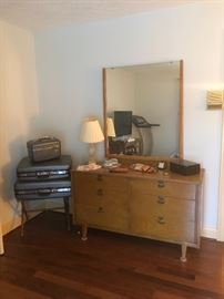Vintage luggage and dresser with mirror
