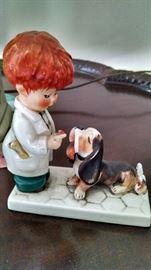 GOEBEL BOY/ DOG STATUE