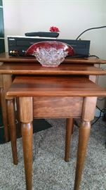 SOLID WOOD NESTING TABLES..SET OF 3