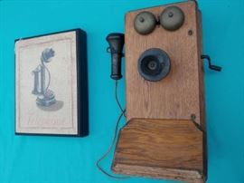 Antique Kellogg Crank Phone and Wall Art
