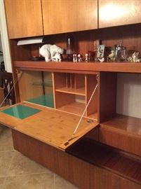 Mid-century Danish teak Wall Unit with drop-down desk