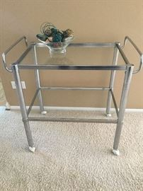 chrome and glass serving cart