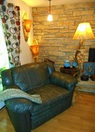 Snow shoe and Antler Lamps; Leather Loveseat