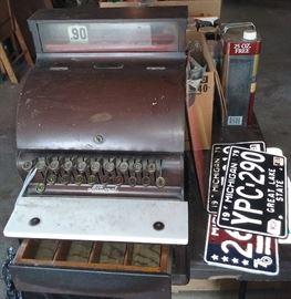National antique cash register, vintage license plates