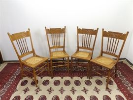 4 Antique Carved and Turned Wood Cane Wood Chairs