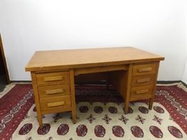 Antique Solid Oak Wood Office Desk
