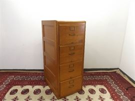 Antique Solid Oak File Cabinet