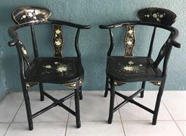 Lacquered Chinese Corner Chairs with Hardstone Carvings on Backs