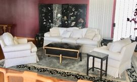 Damask Sofa and Club Chairs With 6-Panel Lacquer and Hardstone Screen