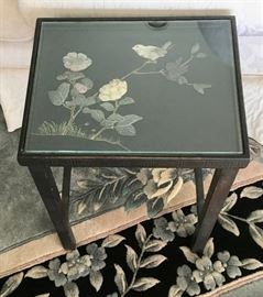 Small Chinese Lacquered Table with Hardstone Design