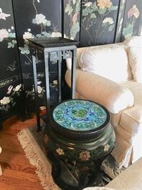 Chinese Lacquered and Painted Occasional Table with Cloissone Inlaid Top