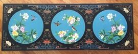 Early 20th Century Chinese Lacquer Table, Carved and Decorated with 3 Inlaid Cloisonne Pictures; Beautifully Detailed.
