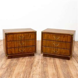 """PAIR OF """"DREXEL"""" CAMPAIGN STYLE NIGHTSTANDS"""