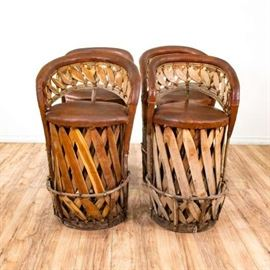 SET OF 4 EQUIPALE BOHEMIAN LEATHER WOVEN BAR STOOLS