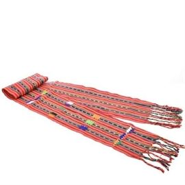 MEXICAN COLORFUL RED WOVEN TABLE RUNNER TAPESTRY