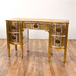 GOLD & SILVER STRIPED TRADITIONAL KNEEHOLE DESK