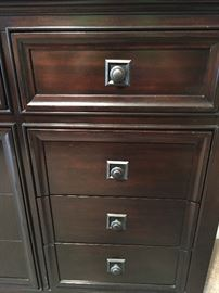 Beautiful dark cherry 9 drawer dresser and mirror. Up close look at hardware.