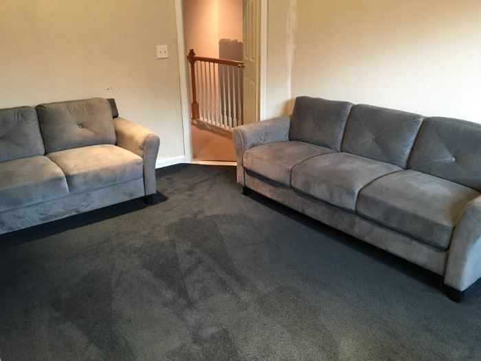 Stunning Living Situations grey velvet sofa and love seat, in excellent condition!