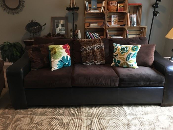 Pleather and microfiber sofa. So nice!