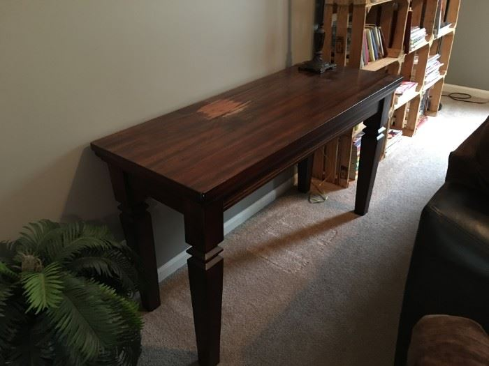 Wooden sofa/entryway table.