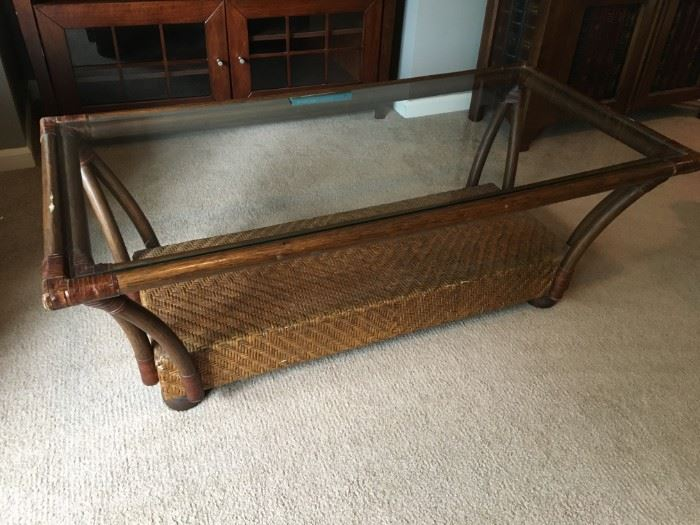 Bamboo/wicker coffee table with glass top.