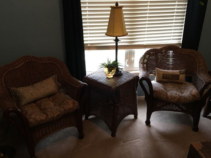 Wicker and bamboo chairs and end table.
