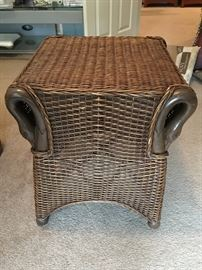 Bamboo and wicker end table.