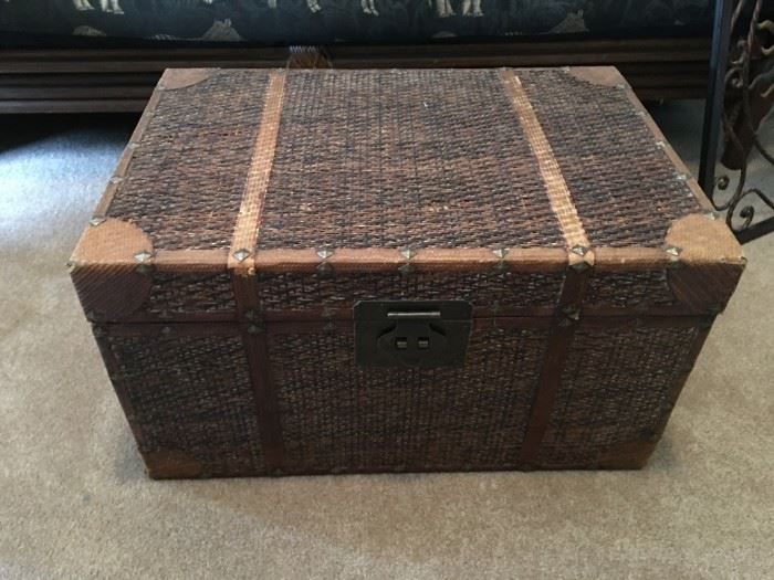 Wood and wicker trunk.