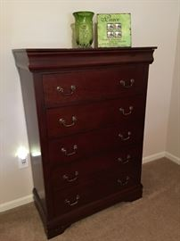 6 drawer dresser, with top drawer velvet lined.