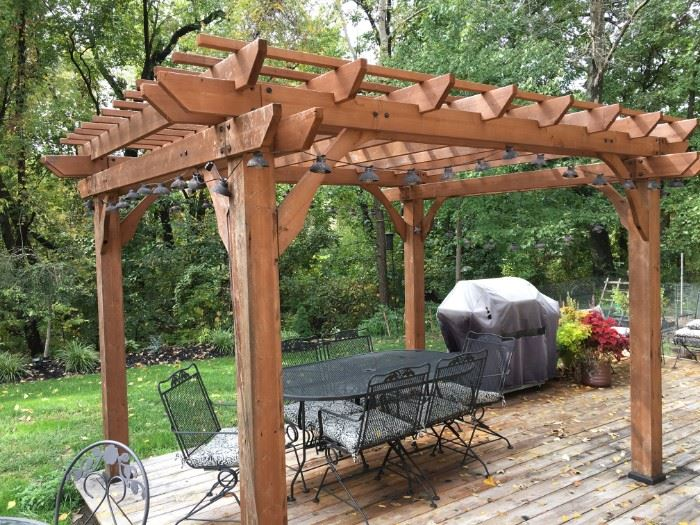 "Stunning pergola! 9'11""X 8'X 8'. Easy to move, not anchored."