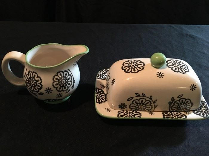 Cute butter dish and creamer.