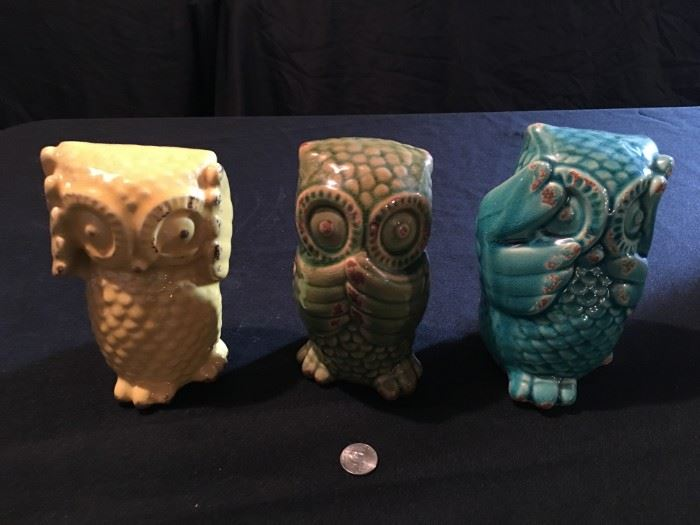 """Hear no evil, speak no evil, see no evil"" ceramic owls!"