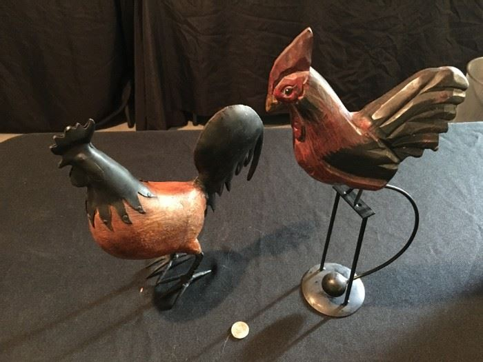 Metal and wood roosters!