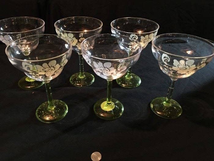 Fancy plastic martini glasses.