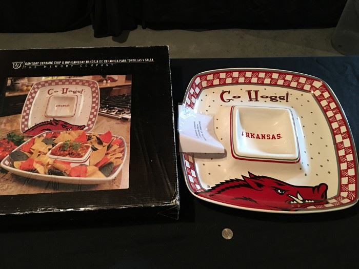 "Never used, in box, ""Go Hogs!"", Kansas chip and dip platter."