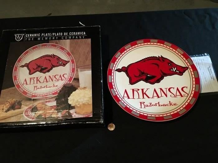 "Never used, in box ""Arkansas Razorbacks"" plate."