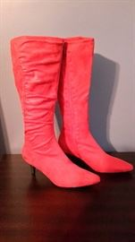 Red suede-like boots, size 10.