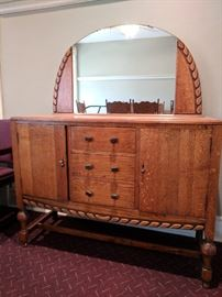 Antique Buffet with curved mirror