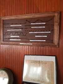 First Mounted & Labeled Barb Wire Collection  Framed Barb Wire chart