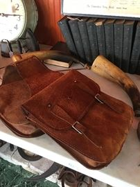 Leather Saddle Bags Powder Horns