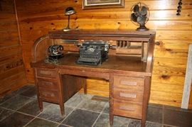 Antique Desk, Typewriter and phone