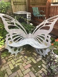 Steel Butterfly Bench... handmade, heavy and awesome...would be an awesome addition to any garden...