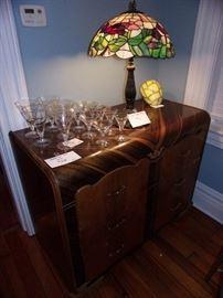 Waterfall Art Deco Chest, Art Glass Lamp